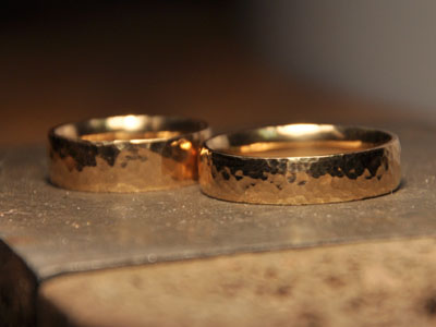 workshop photos hammered gold wedding rings - Make Your Own Wedding Ring