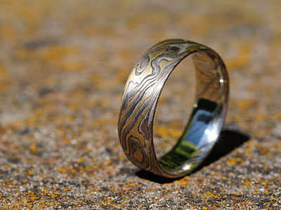 meteoriteandsamantha mokume ploof slider jewelry meteorite gane chris rings damascus wedding steel designs