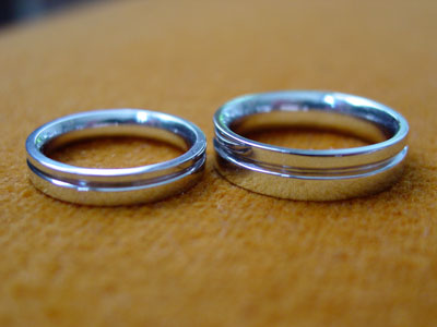 workshop photos white gold wedding rings with groove - Make Your Own Wedding Ring
