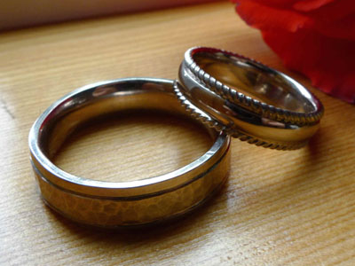 workshop photos white gold wedding rings with twisted rails - Make Your Own Wedding Ring